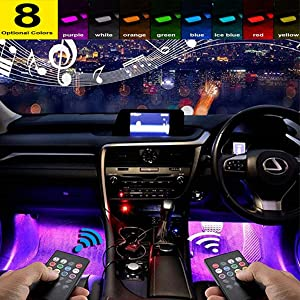 ByLucky -Car LED Strip Light, Multicolor Music Interior Light ! 4 LED Beads Under Dashboard,with Good Active Function and Wireless Remote Control,Including car Charger (DC 12V)