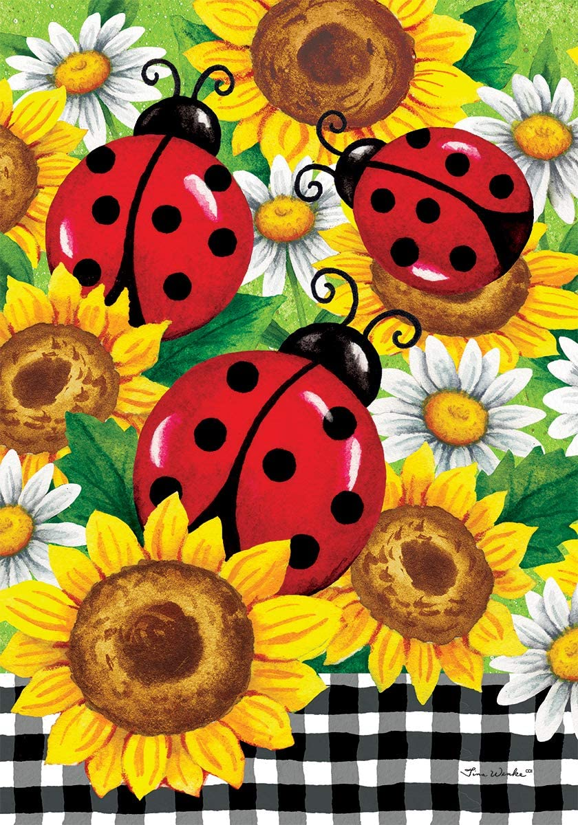 Custom Decor Sunflower Ladybugs - Garden Size, Decorative Double Sided, Licensed and Copyrighted Flag - Printed in The USA Inc. - 12 Inch X 18 Inch Approx. Size