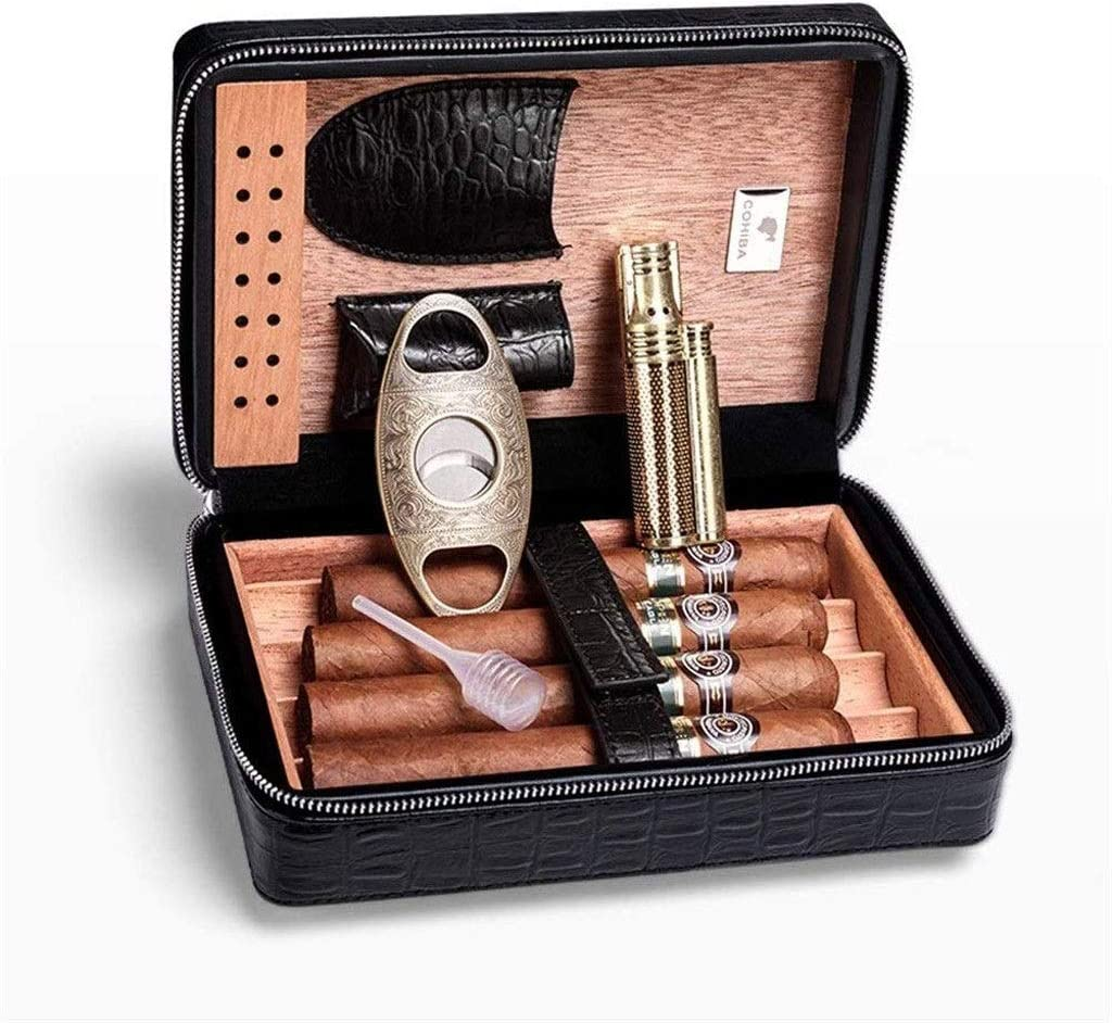ZHJXJH Tragbares Set Portable Humidor Zedernholzzigarrenkisten Mit Interieur Zigarrenschere Zigarrenfeuerzeuge Color : Black
