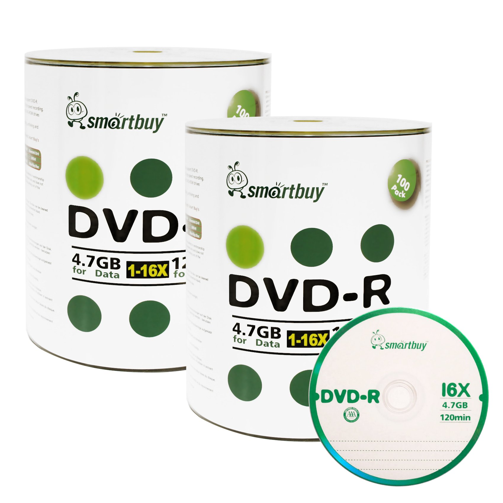 Smart Buy 200 Pack DVD-R 4.7gb 16x Logo Blank Data Video Movie Recordable Disc, 200 Disc 200pk by Smart Buy