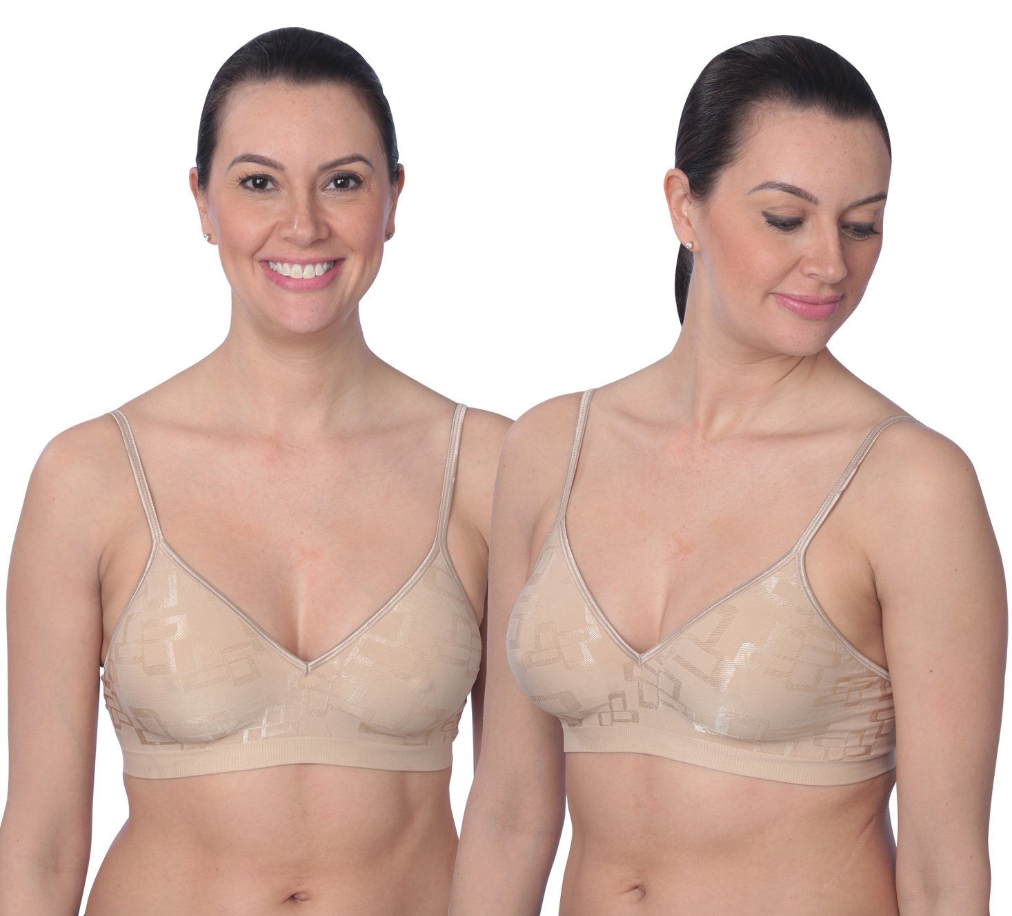 Hanes Comfortflex Fit Santoni Bra with Corsetry Detail-1 or 2 Pack, 2 Nude/ Small
