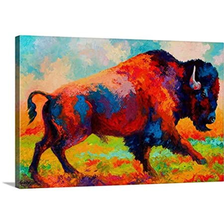 Running Free Bison Canvas Wall Art Print, 36 x24 x1.25