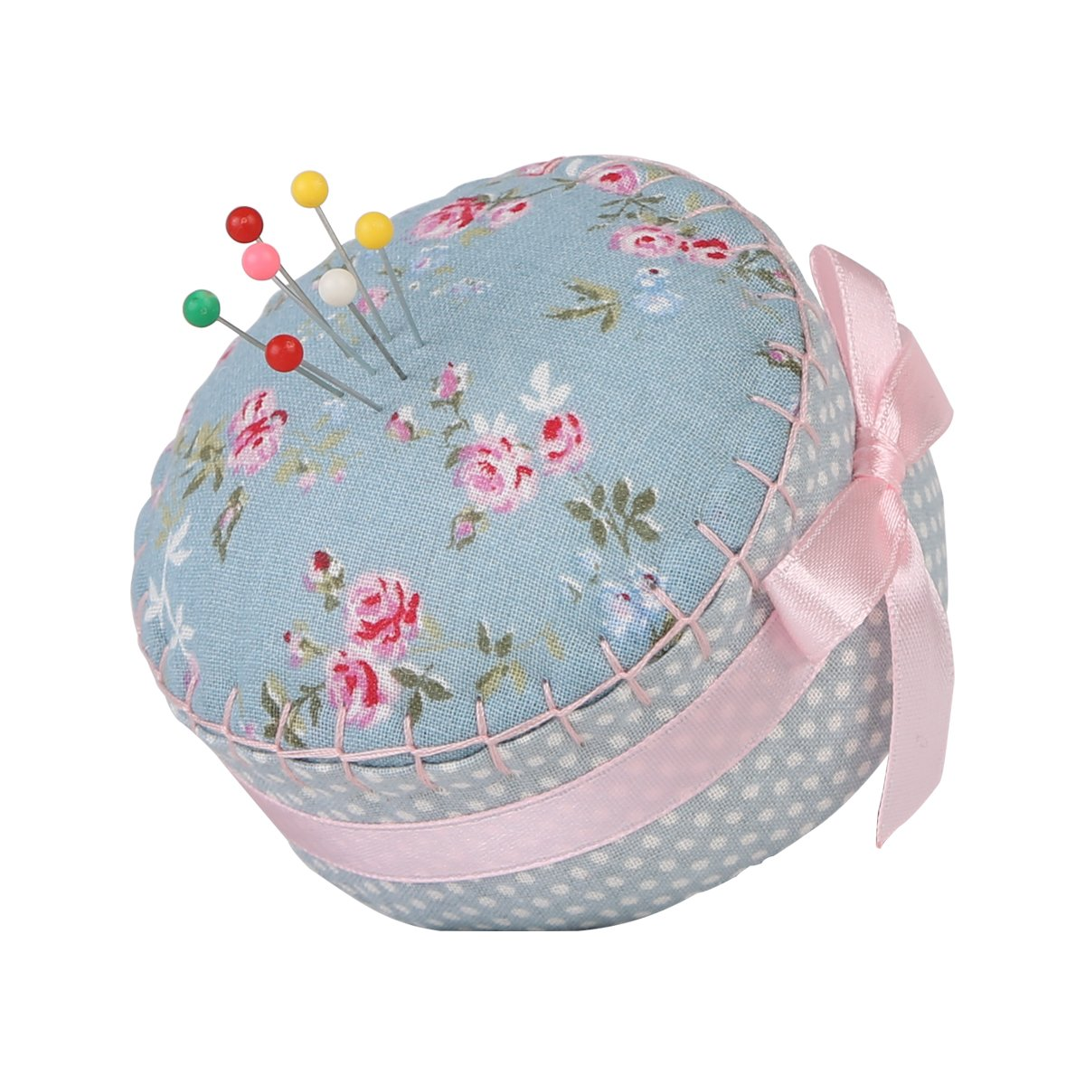 Neoviva Floral Fabric Coated Fully Padded Pin Cushion in Cupcake Shape with Satin Ribbon Knot for Long Needle Storage, Floral Blue Ocean, Pack of 2