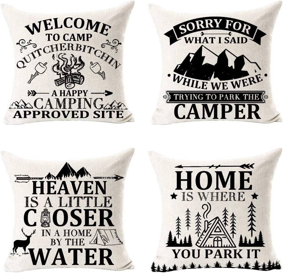 FELENIW Pack of 4 Heaven is A Little Closer in A Home is Where You Park It Fun Quote Deer Mountain Best Gift for Camping Travel Throw Pillow Cover Cushion Case Cotton Linen Decorative 18 Square