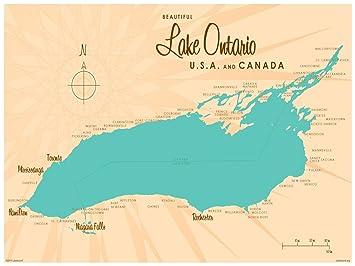 Amazon.com: Lake Ontario New York Map Vintage-Style Art Print by ...