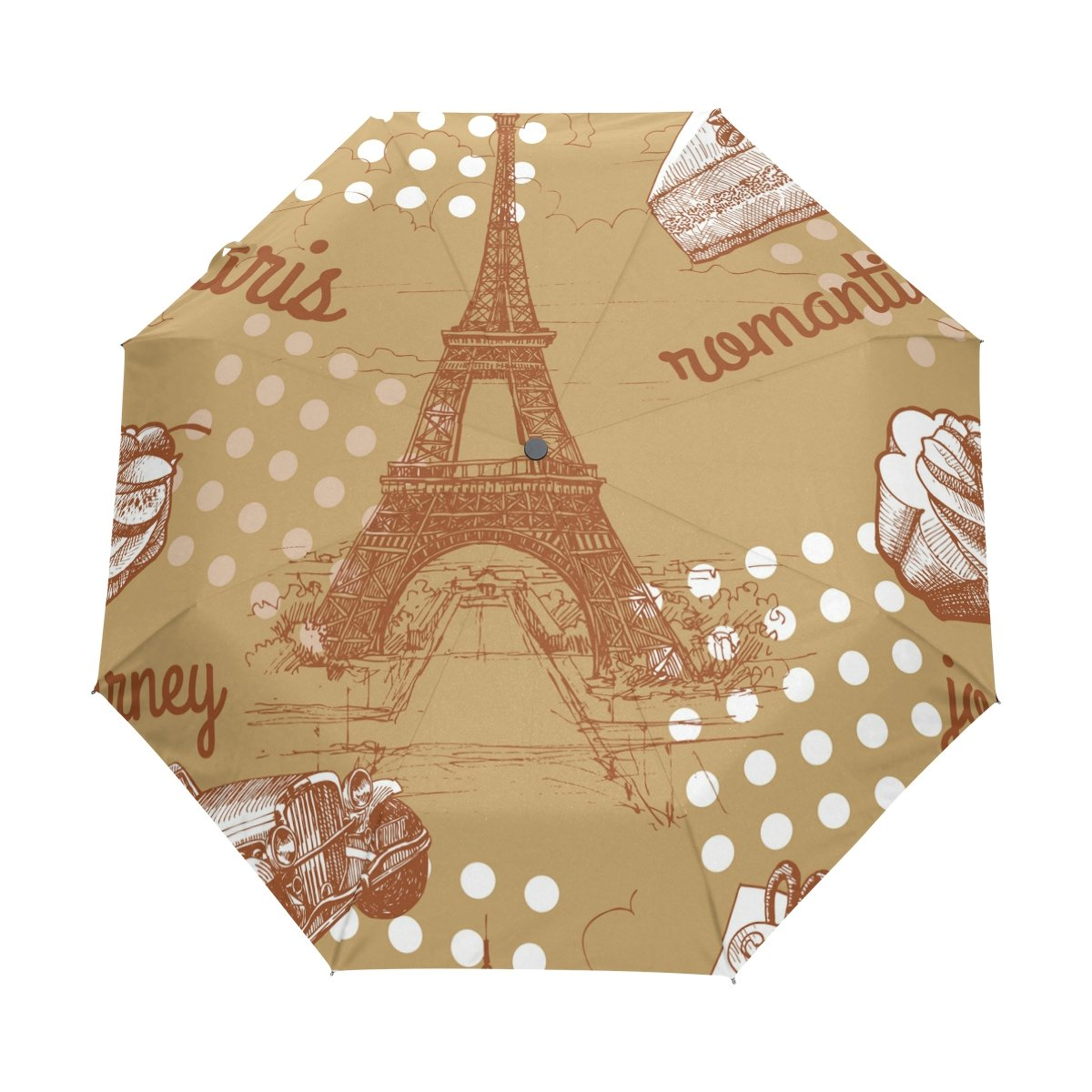 on sale GIOVANIOR Paris Eiffel Tower Cake Car Grunge Umbrella Double Sided Canopy Auto Open Close Foldable Travel Rain Umbrellas