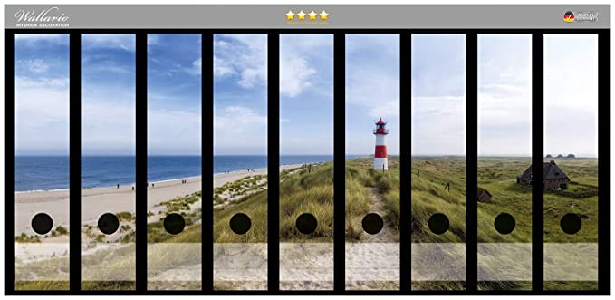 Wallario Ordnerrücken selbstklebend 12 breite Ordner Leuchtturm Düne Strand