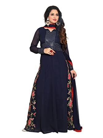 d08a42d04f YOYO Fashion Designer Georgette Embroidered Anarkali Semi Stitched Salwar  Suit: Amazon.in: Clothing & Accessories