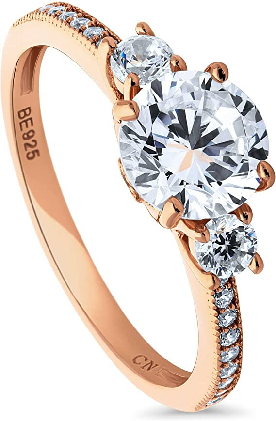 BERRICLE Rose Gold Plated Sterling Silver Round Cubic Zirconia CZ 3-Stone Anniversary Promise Engagement Ring 1.59 CTW