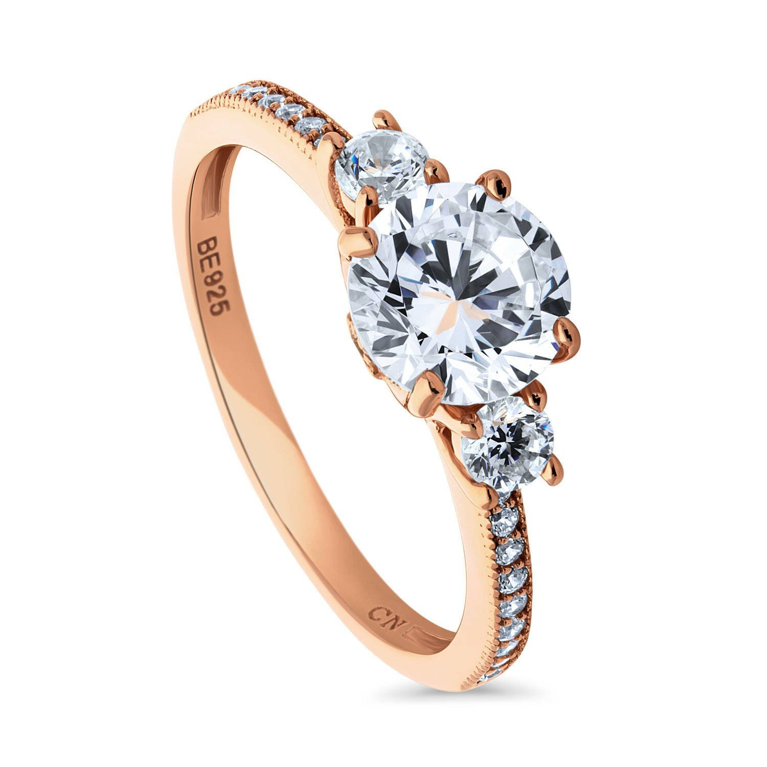 BERRICLE Rose Gold Plated Sterling Silver Cubic Zirconia CZ 3-Stone Promise Engagement Ring Size 7.5
