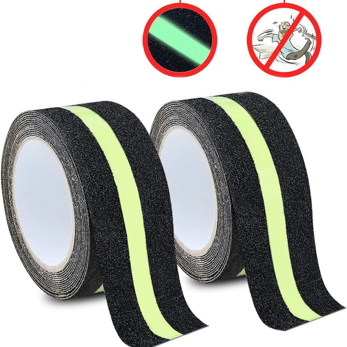 DeaLikee Anti Slip Traction Tape, None Skid Glow in The Dark Walk Strip Safety Tape with 3M Best Grip Abrasive Adhesive for Stairs, Tread Step, Gaffers.(2 Pack, 2' Wide 16.4' Long Roll Each) 2 Wide 16.4 Long Roll Each)