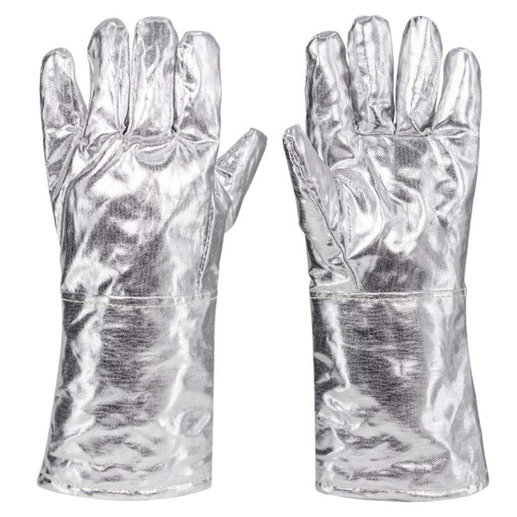 XXHDYR Guanti antinfortunio a cinque dita Guanti ignifughi ad alta temperatura Guanti di assicurazione per lavori di manutenzione Griglia di alluminio Griglia resistente al calore Antiscottatura guant