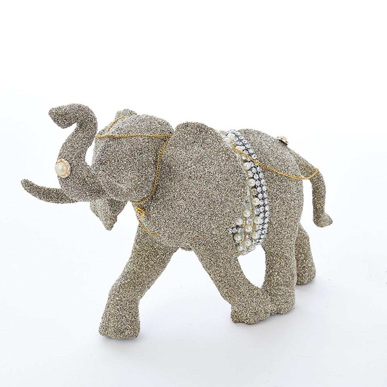 "CC Christmas Decor 7.7"" Platinum Colored Glittering Finished Decorative Elephant Table Topper"