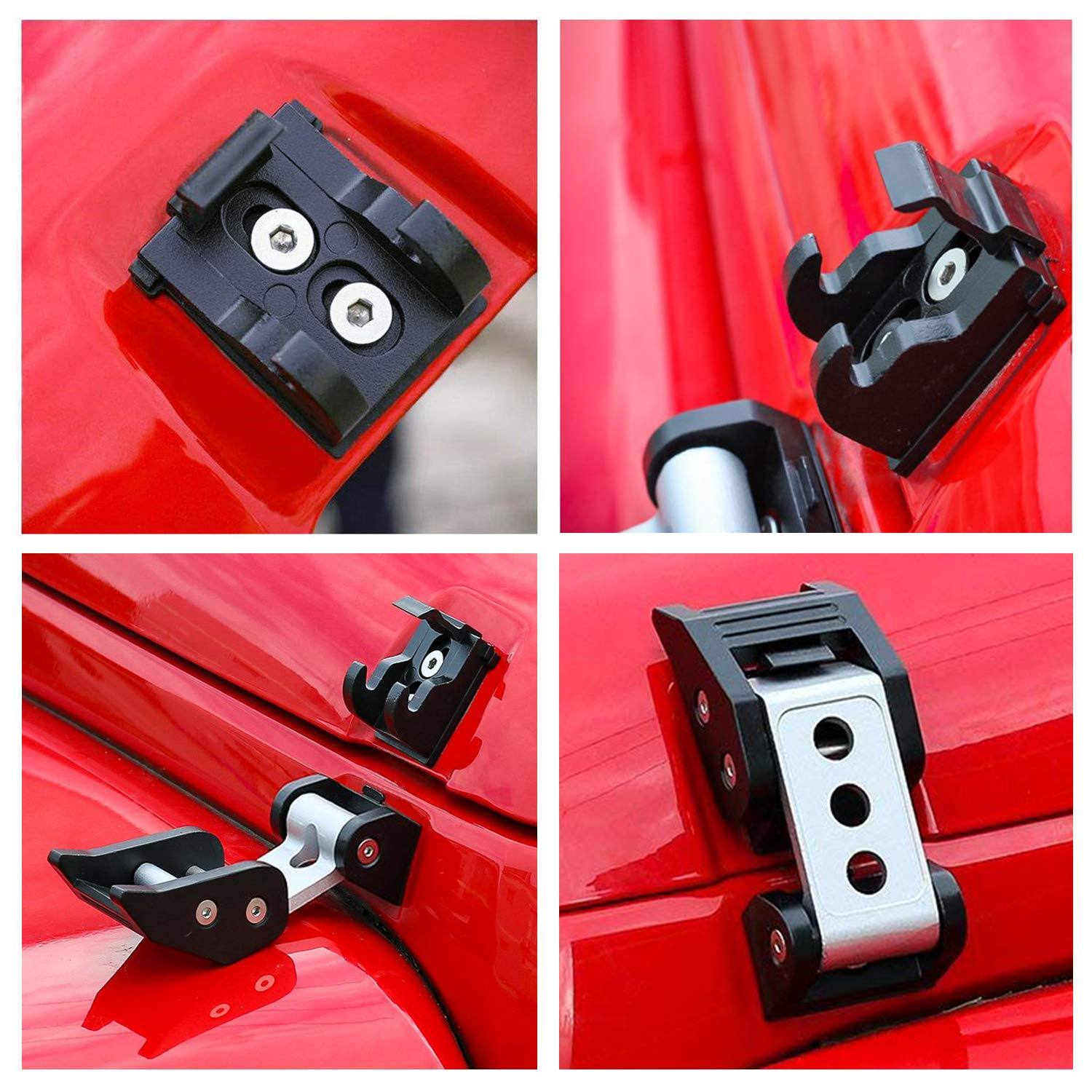 Silver YOUAN Aluminum Jeep Wrangler Hood latches Locking Hood Catch Kit for 2007-2018 JK /& Unlimited