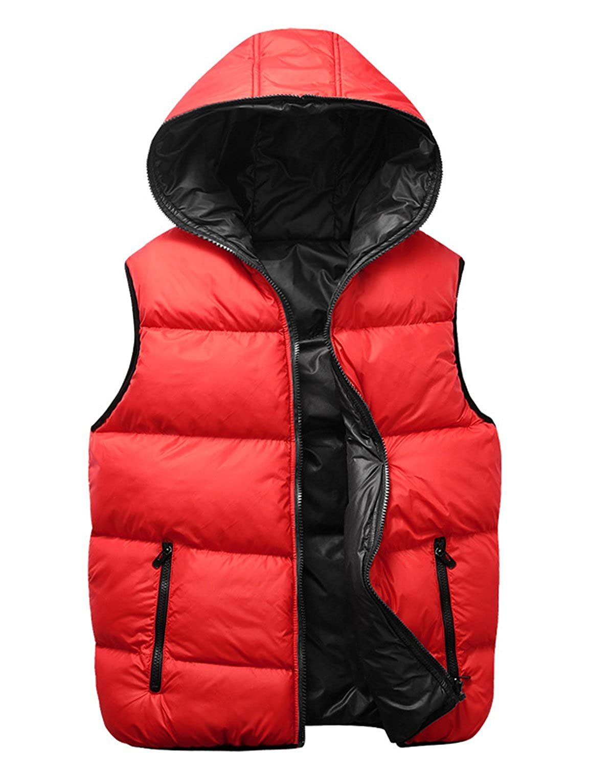 Only Faith Boy's Autumn & Winter Glazing Down-like Hooded Vest Couples Waistcoat