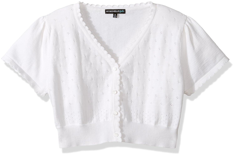 My Michelle Girls' Big Short Sleeve Pointelle Sweater 8582TP1G