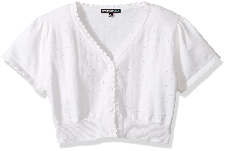 White XL My Michelle Girls Short Sleeve Cardigan Sweater