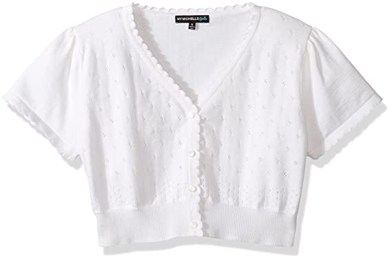 bb645dc4f9 Image Unavailable. Image not available for. Color  My Michelle Girls  Short  Sleeve Cardigan Sweater