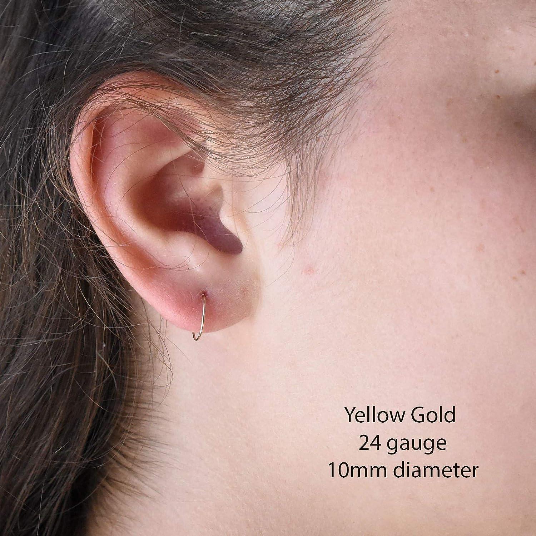 46e6944f1e4ea Little Gold Hoops 10mm 24 Gauge 14k Yellow Gold Fill Earrings Made by hand