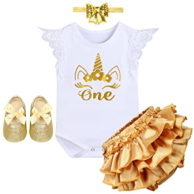 11828e74caed Newborn Crown It s My 1st Birthday Costume Princess Outfit Bodysuit Romper  Tutu Shiny Pants Dresses Bow