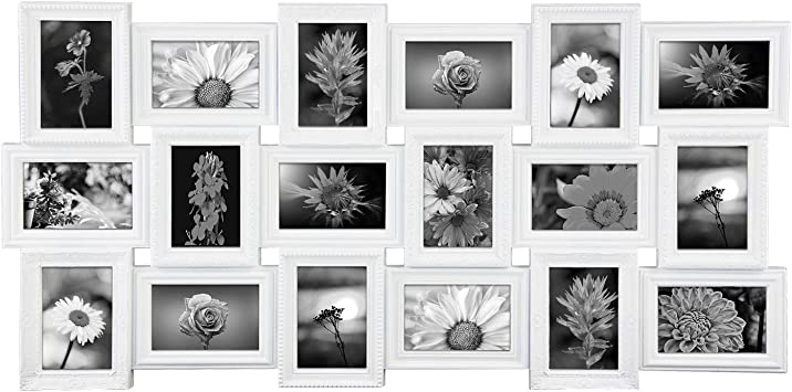 Amazon Com Jerry Maggie Photo Frame 17x33 Long Rectangle Picture Frame Selfie Gallery Collage Wall Hanging For 6x4 Photo 18 Photo Sockets Wall Mounting Design White 18 Pieces Gallery