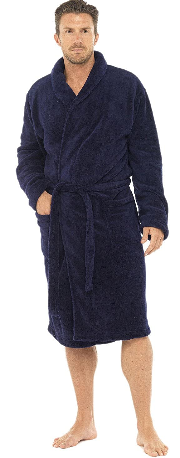 Mens Knee Length Fleece Wrapover Dressing Gown, Gown, Gown, Navy, Large B00KGE5ZWS Bademntel eff8f5