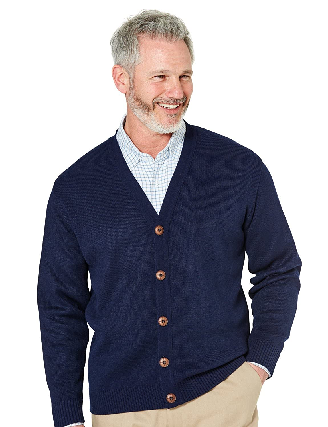 Pegasus Mens Fine Gauge Plain Button Cardigan