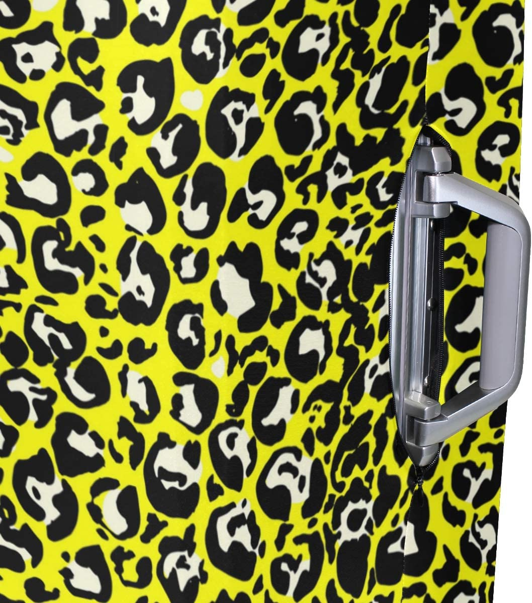 Bright Yellow Leopard Print Traveler Lightweight Rotating Luggage Protector Case Can Carry With You Can Expand Travel Bag Trolley Rolling Luggage Protector Case