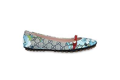 Gucci Women's 'Blooms' GG Supreme Pebbled Sole Ballerina Flat,  Multicolor/Blue 432566