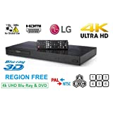 LG 4K Ultra HD Region Free Blu-ray Player DVD Player UP870, Multi region 110-240 volts, 6FT HDMI cable & Dynastar Plug adapter bundle Package