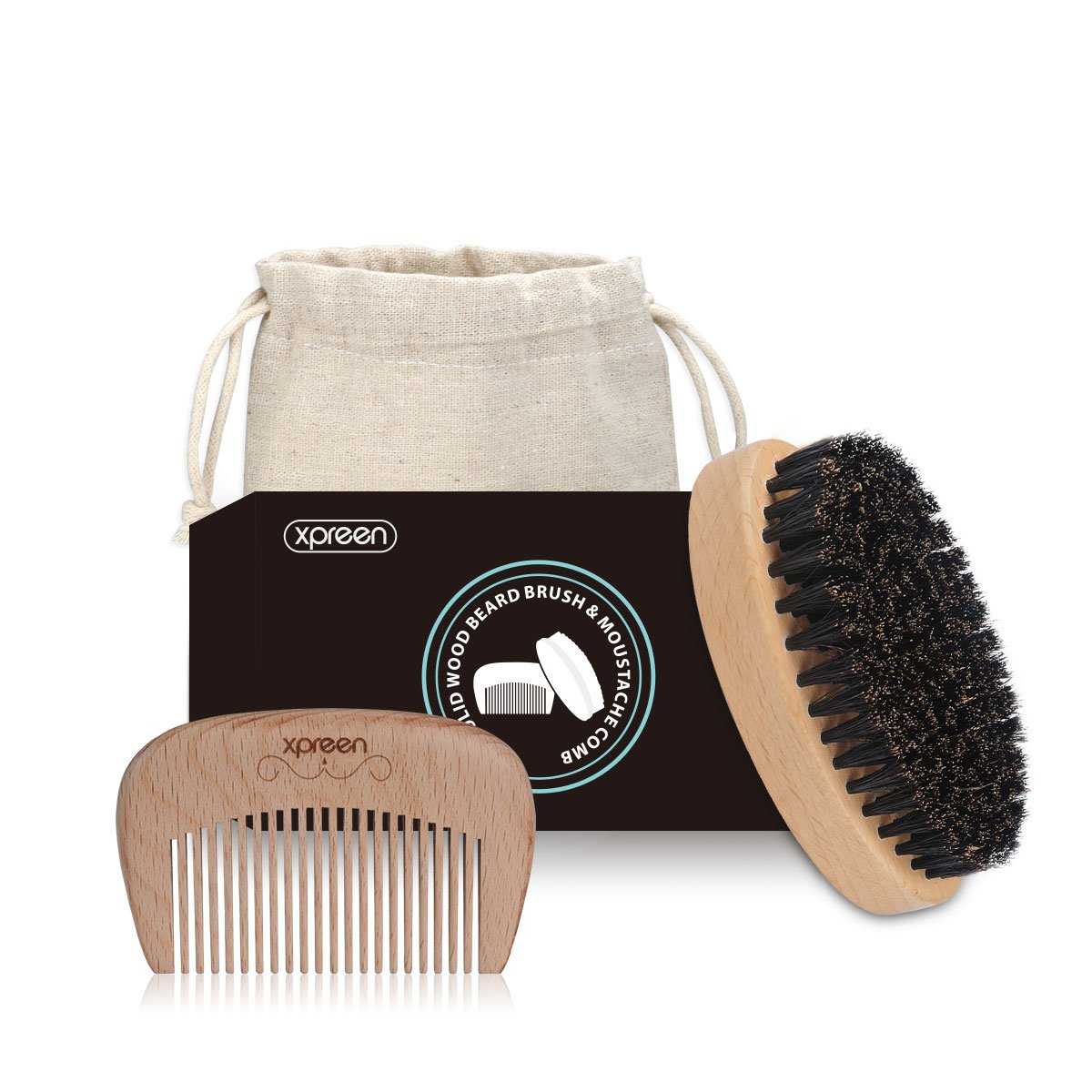 Xpreen Beard Oval Brush and Beard Comb Set with Carrying Case, Premium Handmade Wooden Comb and 100% Natural Boar Bristle Brush for Men Beard & Mustache Care