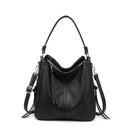 Handtaschen Damen Lederimitat Umhängetasche Designer Taschen Hobo Taschen groß Mit Quasten Schwarz Kleine Größe
