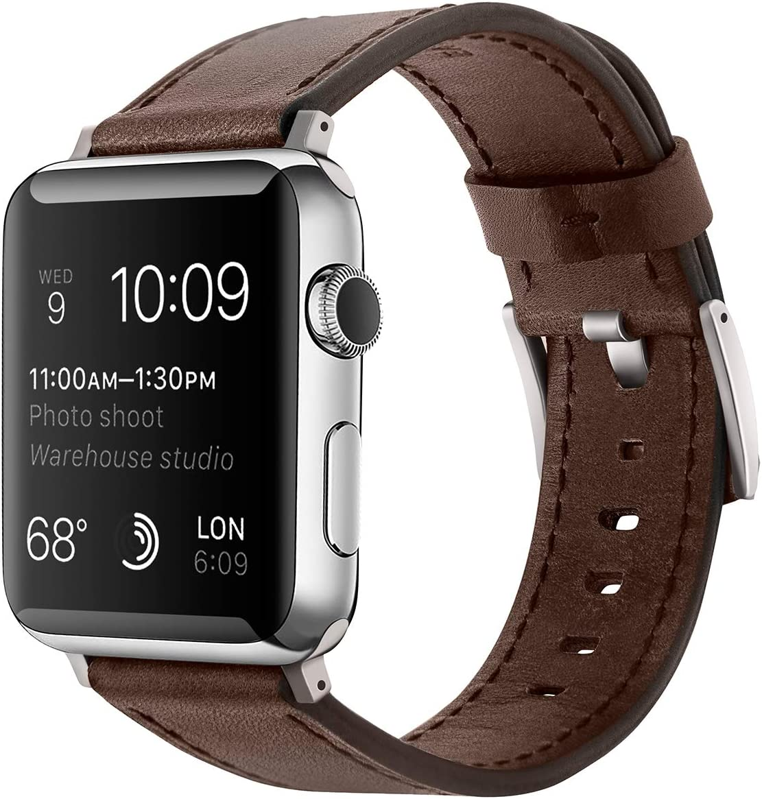 EAVAE Compatible with Apple Watch Bands 42mm 44mm ,Brown Premium Leather iWatch Bands Replacement Strap with Metal Clasp for Apple Watch Series 5 4 3 2 1