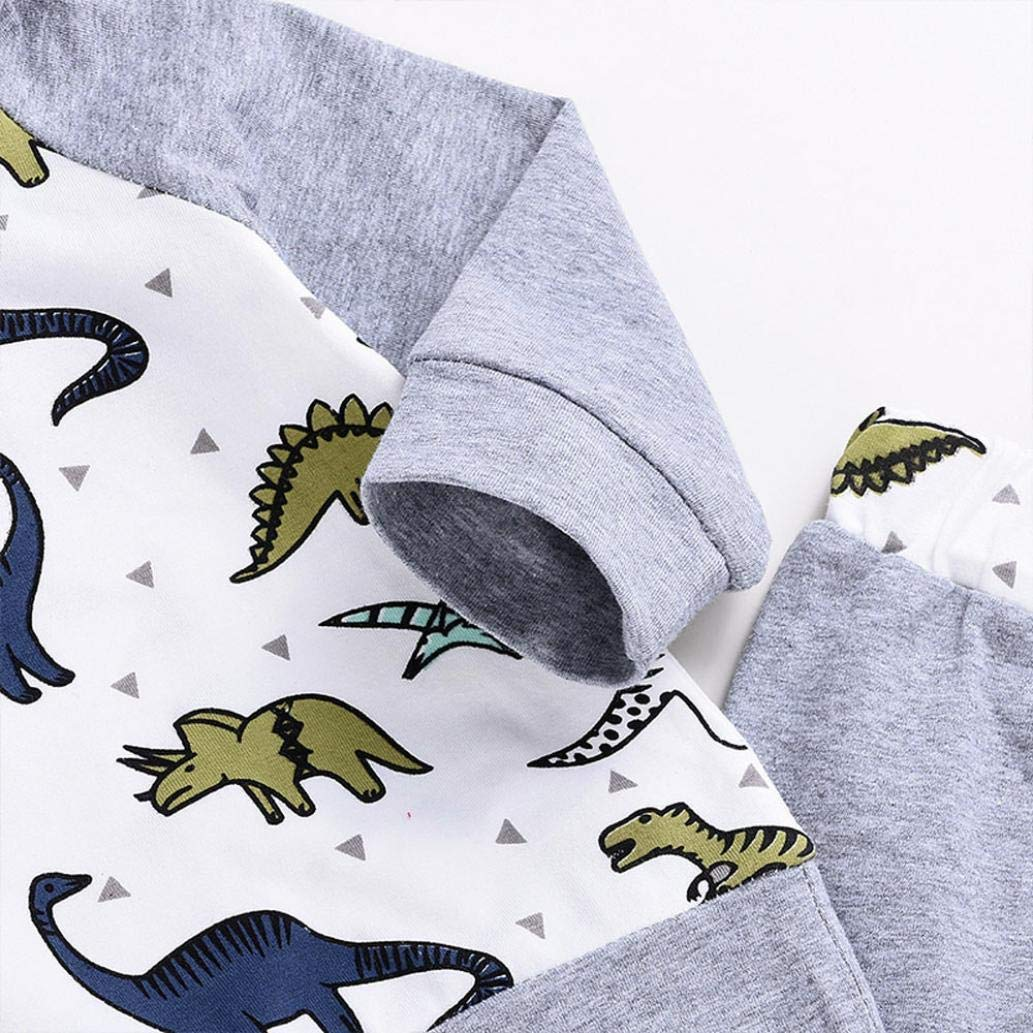 Infant Baby Boys Girls Cartoon Dinosaur Hooded Tops Pullover Pants Outfits Set Palarn Baby Clothes