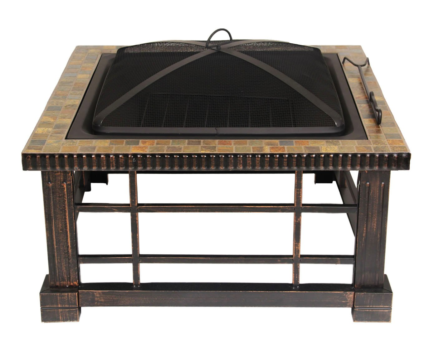 UPHA 30-inch Square Natural Slate Top Fire Pit Table with Rubbed Bronze Side Panels for Outdoor Patio Backyard