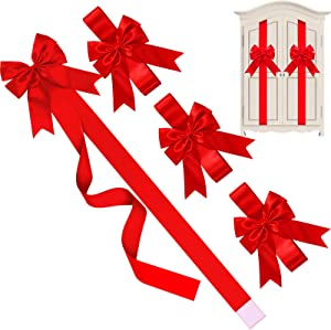 WILLBOND Christmas Cabinet Ribbons Bows Large Christmas Door Ribbon Cabinet Bows for Christmas Party Supplies (Red, 4 Pieces)
