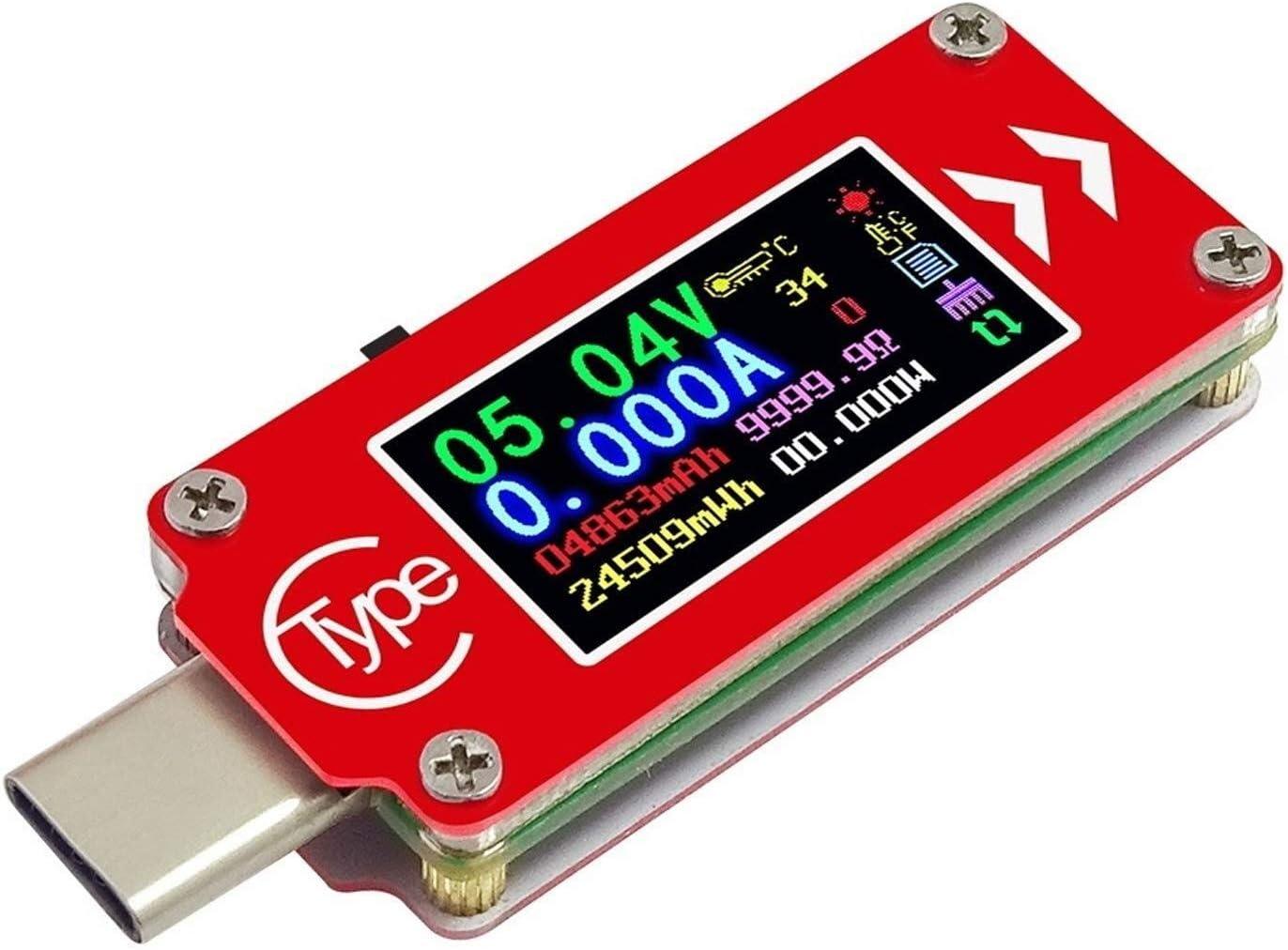 BXU-BG USB Multi Tester TC64 Tipo-C Color LCD USB del amperímetro del voltímetro del metro del voltaje de la batería actual del multímetro de carga PD Banco de alimentación probador de bricolaje y her