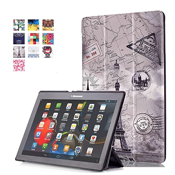 Leather Case 10.1inch Lenovo Tab 2 A10 Cover,Folio Case [Magnetic Closure][Slim Fit] Folding Case Cover for 10.1