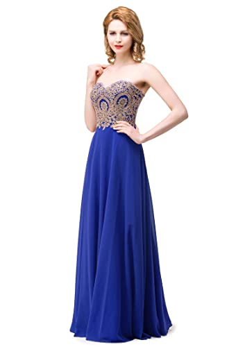 MisShow Women's Strapless Embroidery Beaded Prom Formal Dress