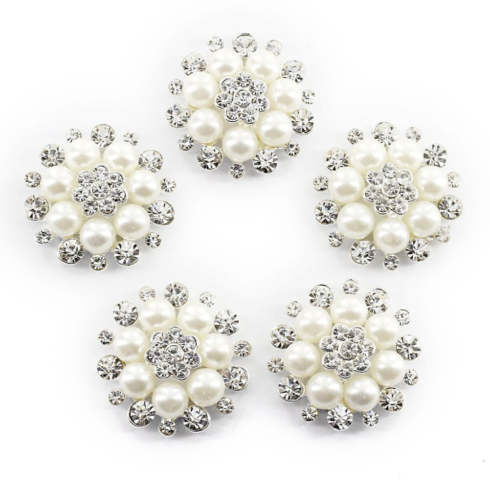 ULTNICE Faux Pearl Flower Buttons Embellishments for Craft Buttons Pack of 10