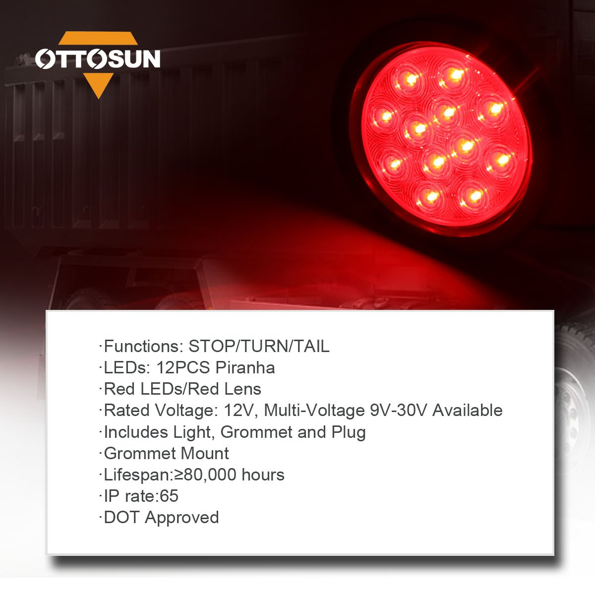 OTTO-C030312 Red 4 Round LED Tail Light OTTOSUN Red Sealed Waterproof Multi-function Red LEDs with PC Lens Stop Turn brake Lights for Cars SUVs or Trucks Trailers DOT /& SAE Approved