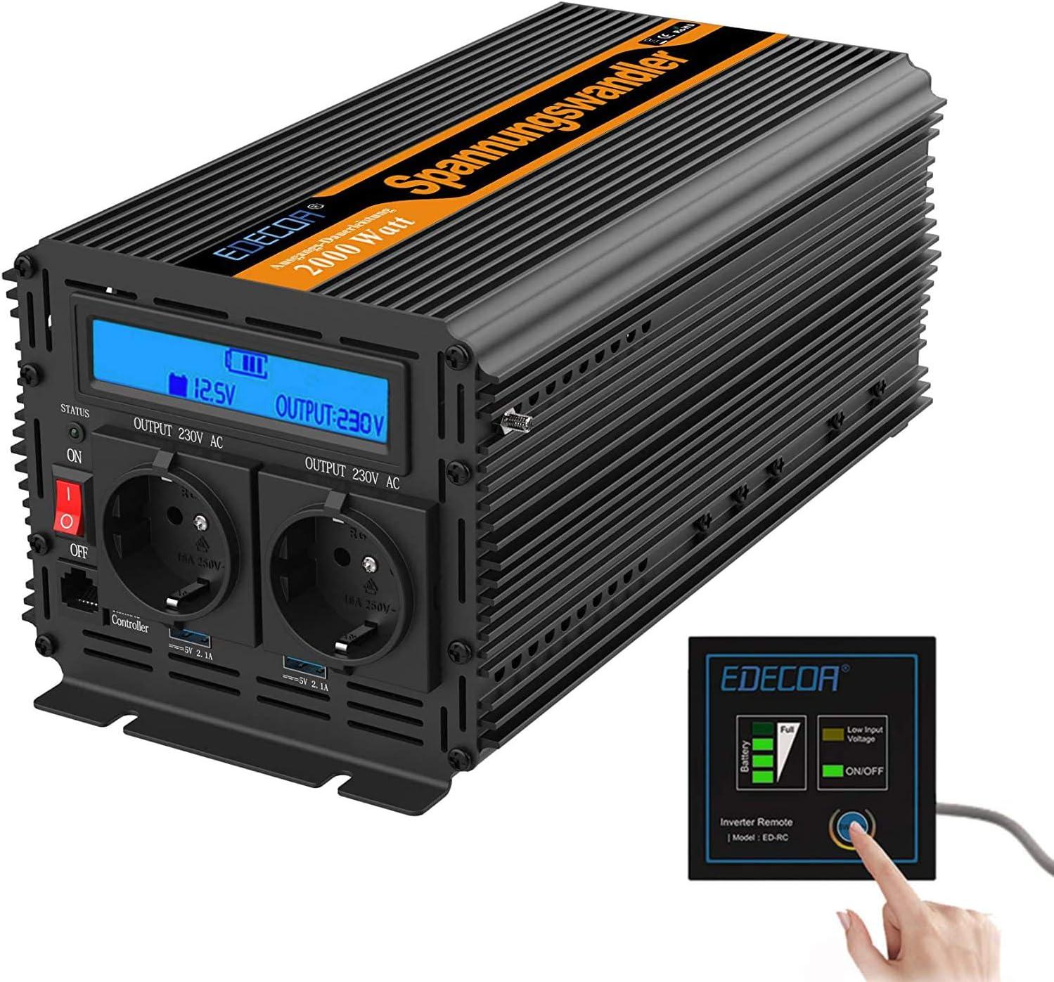 EDECOA Conversor 2000w Inversor 12v 220v 230v 2x USB pantalla LCD y mando a distancia Transformador onda modificada 2000w y pico momentaneo de 4000w inversor para instalacion solar