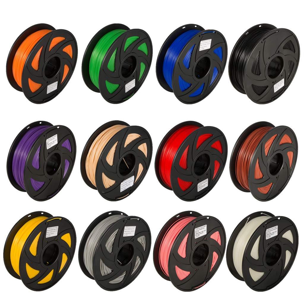 KESOTO Filament d'imprimante 3D 12 Colors ABS de filament 1.75mm