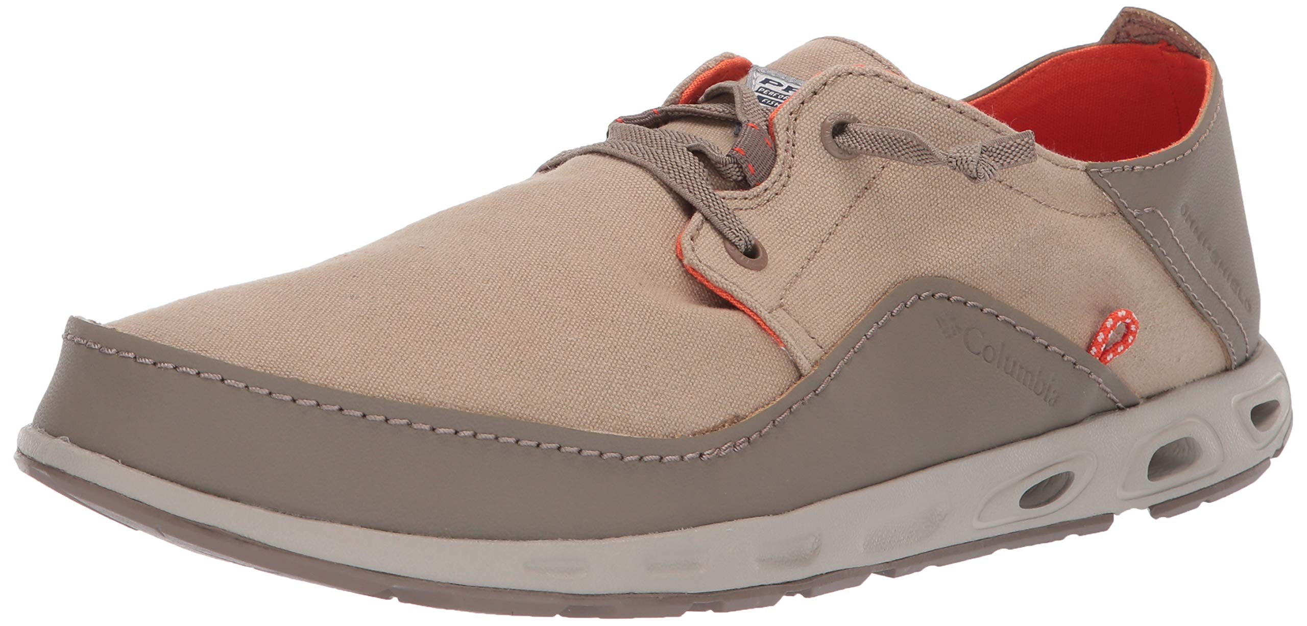 Columbia PFG Men's Bahama Vent Relaxed PFG Boat Shoe British Tan, Tangy Orange 7