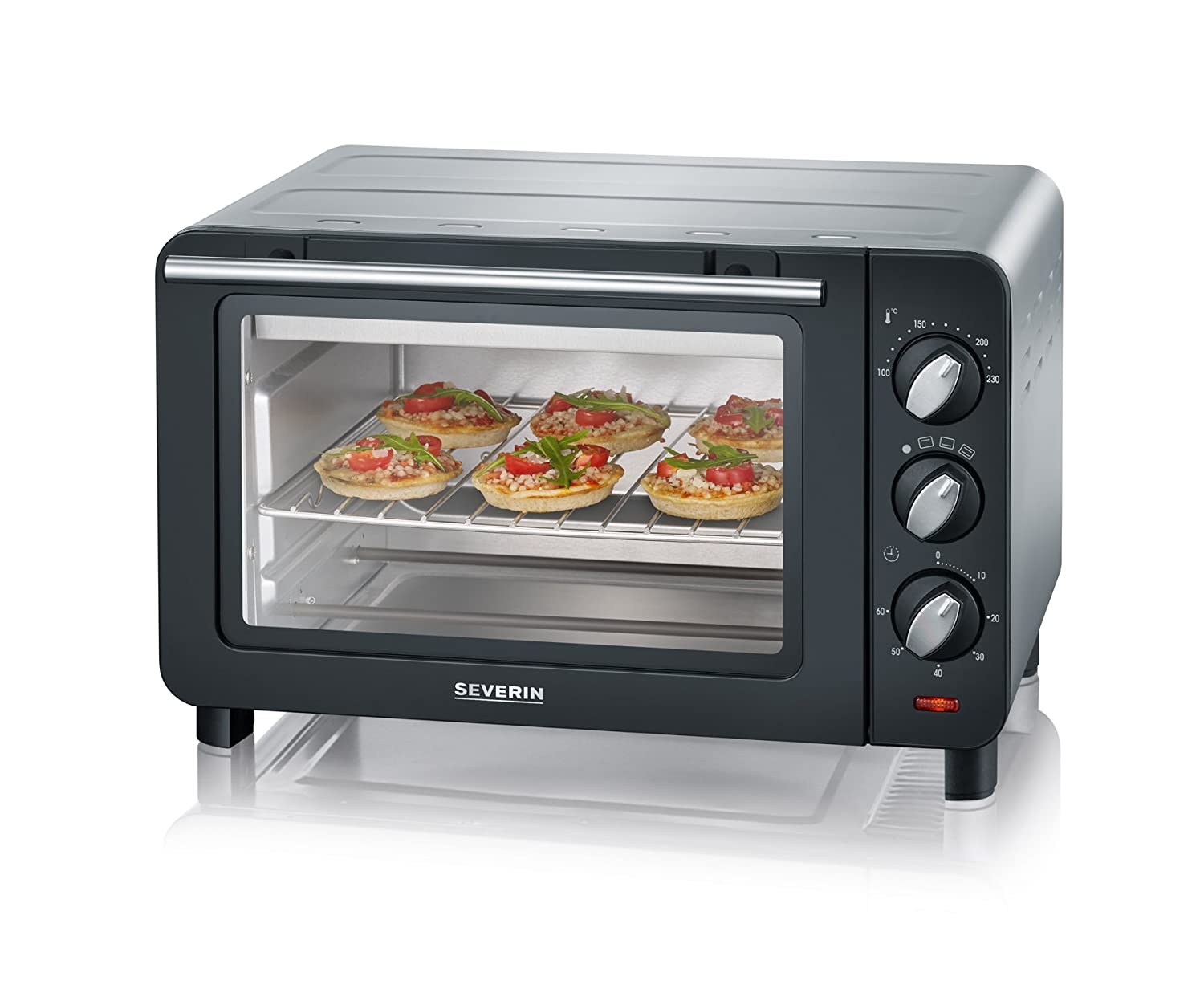 Severin TO 2064 - Horno tostador, 1200 W, color negro y plata