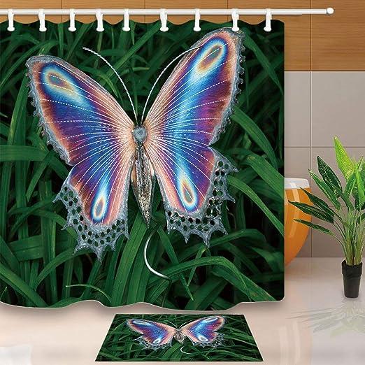 Blue butterfly Specimen Non-slip Bathroom Bedroom Soft Bath Rugs Door Mat Carpet