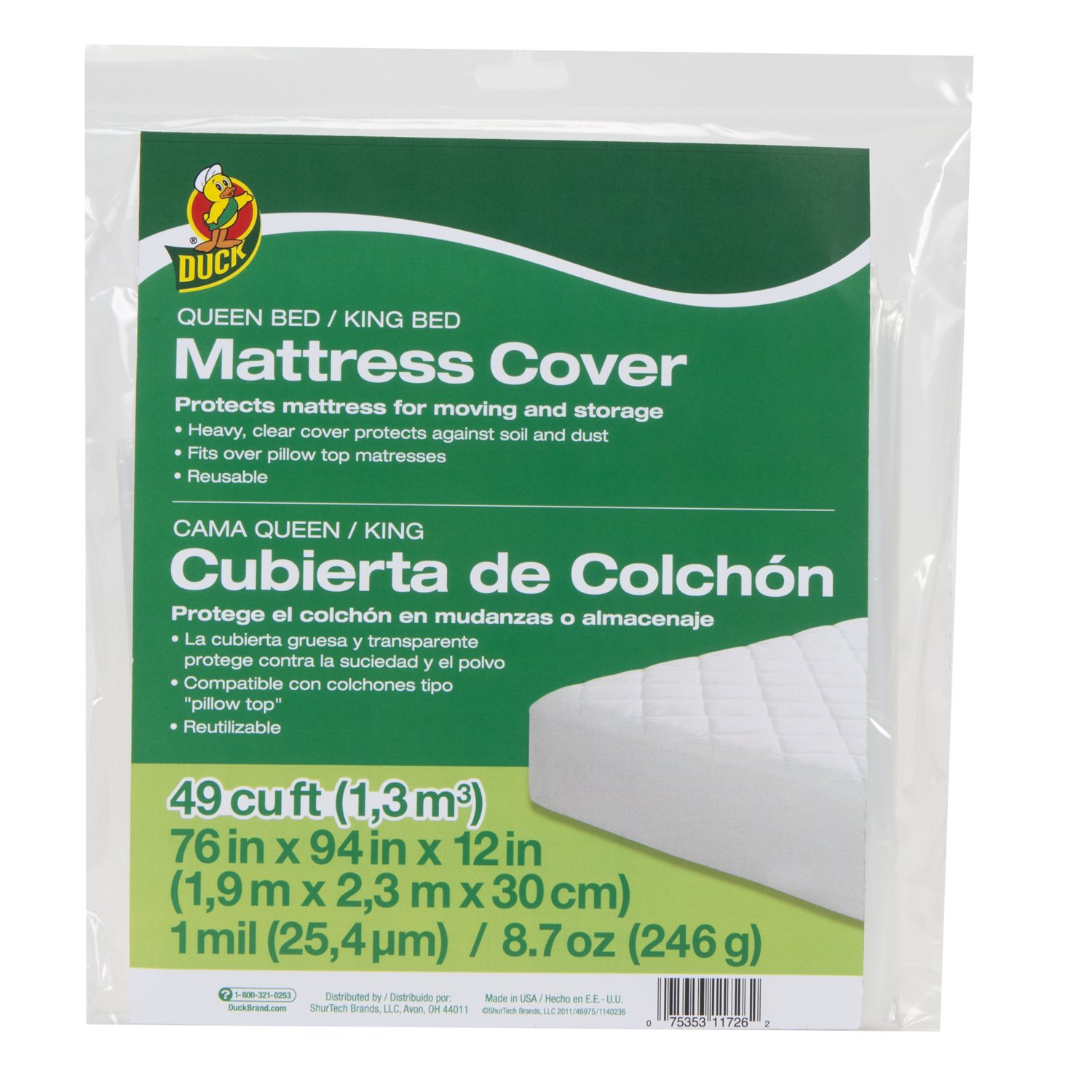 Duck Brand 1140236 King or Queen Sized Mattress Cover, 76