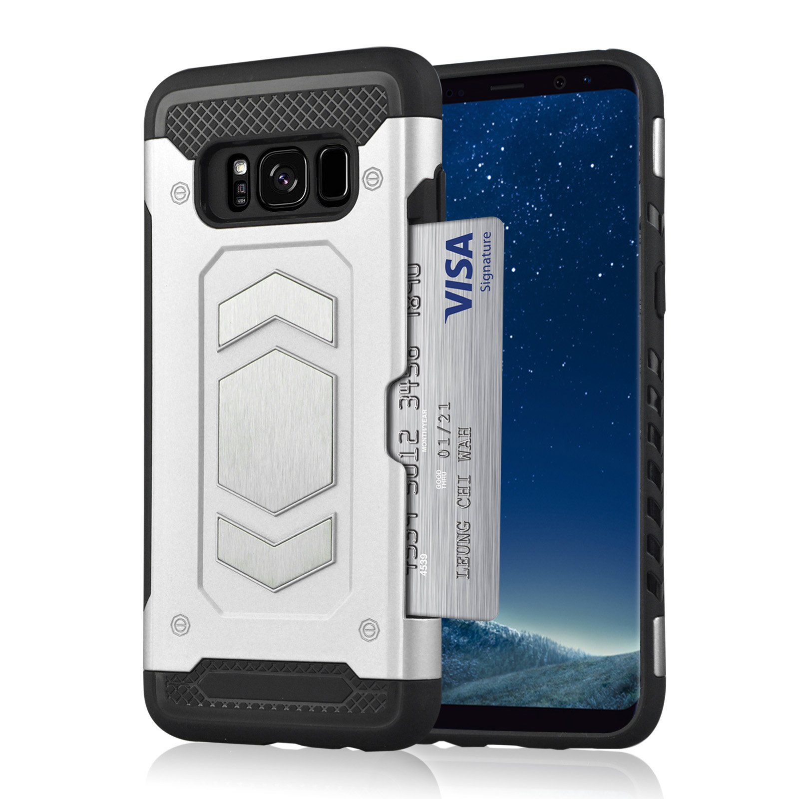 Samsung Galaxy S8 Plus/S8 Wallet Case, Slim Armor Shockproof Heavy Duty Protection Dual Layer TPU&PC Hybrid Case Cover with Card Slot Car Mount Holder Thin Case for Galaxy S8 (6, Galaxy S8 Plus) by 22miter