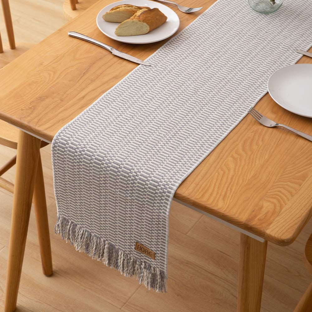 idee-home Woven Cotton Table Runner with Fringe 72 Inches, Perfect for Spring, Fall Holidays, Parties and Everyday Use, Light Gray