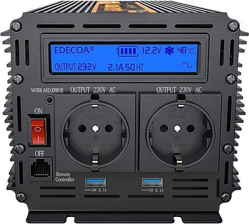 Spannungswandler 12v 230v Wechselrichter 1500w Spannungswandler Reiner Sinus Bildschirm Lcd Mit Fernbedienung Baumarkt